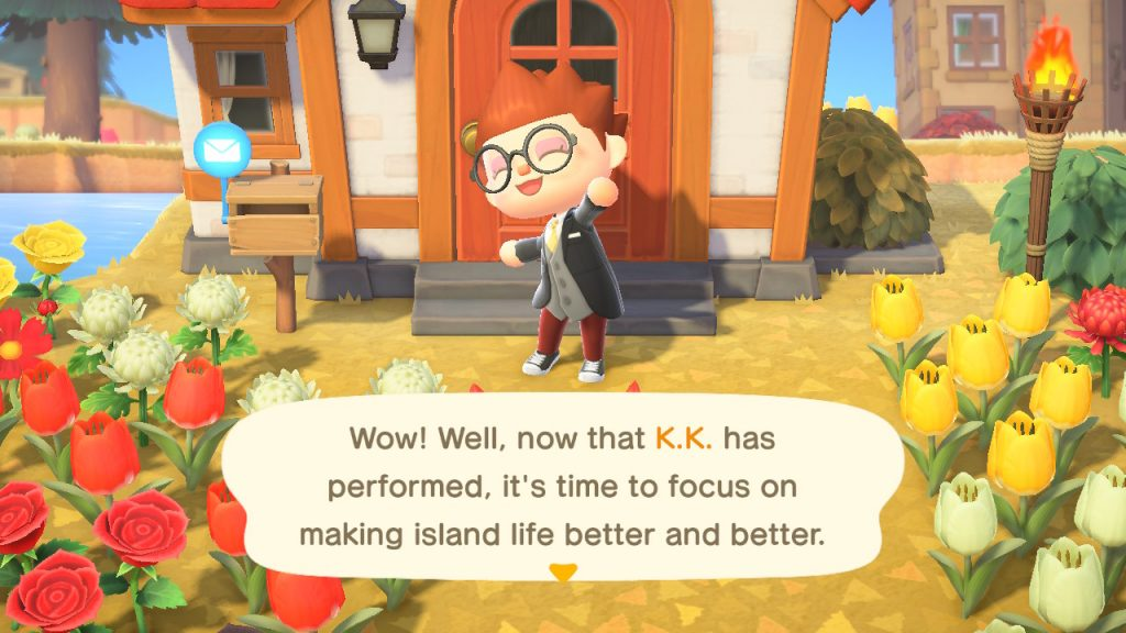 "A screenshot showing text reading, ""Wow! Well, now that K. K. has performed, it's time to focus on making island life better and better."""