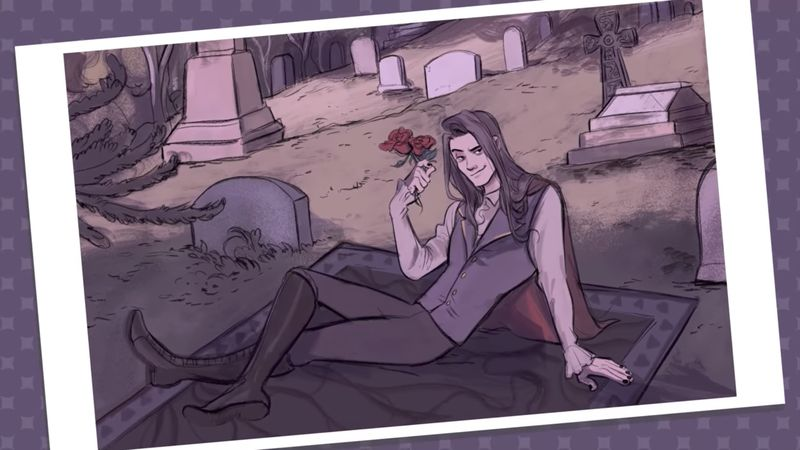 An image of Damien from Dream Daddy, who has long brown hair and pale skin. He has a blanket spread in a cemetery, where he lies with one leg crossed over the other, and a bundle of roses in one hand. Dream Daddy, Game Grumps, 2017