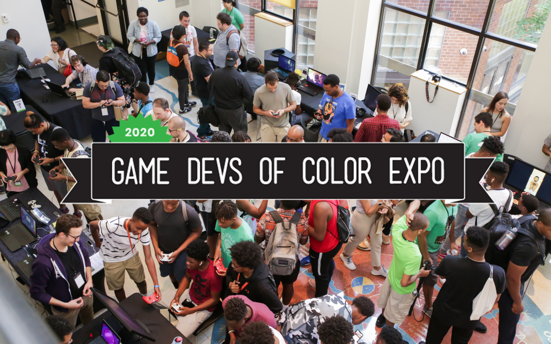 "An overlay of a banner that reads, ""2020 Game Devs of Color Expo"" over a crowd."