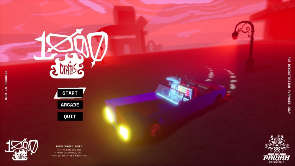 Start menu screen for 1000 Deaths. A car with a person that has a television head and an undistinguishable creature next to them drifts through a deep red, empty landscape.