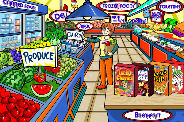 A screenshot of Millsberry showing a character shopping in a grocery store with branded cereals on display.