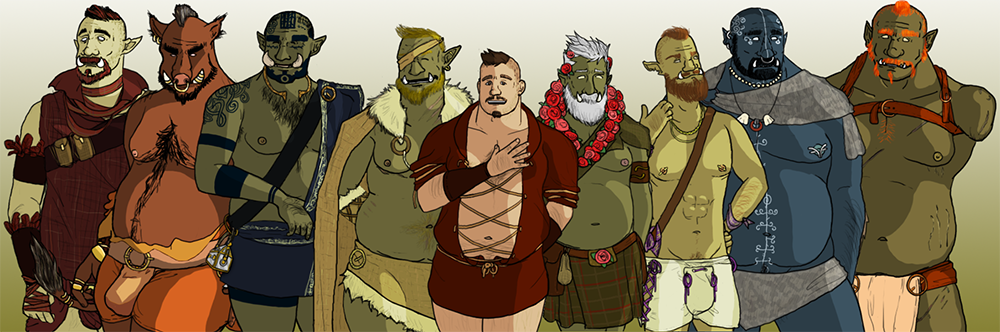A character lineup for Tusks: The Orc Dating Sim. There is a white human at the center of the banner, flanked on either side by eight total orgs of varying body types. All the orcs have flat chests, many are wearing tight loincloths, and all but one is shirtless. The orc on the far right has only one arm, the other ending at the shoulder. Tusks, hxovax, early access. https://hxovax.itch.io/orc-dating-sim