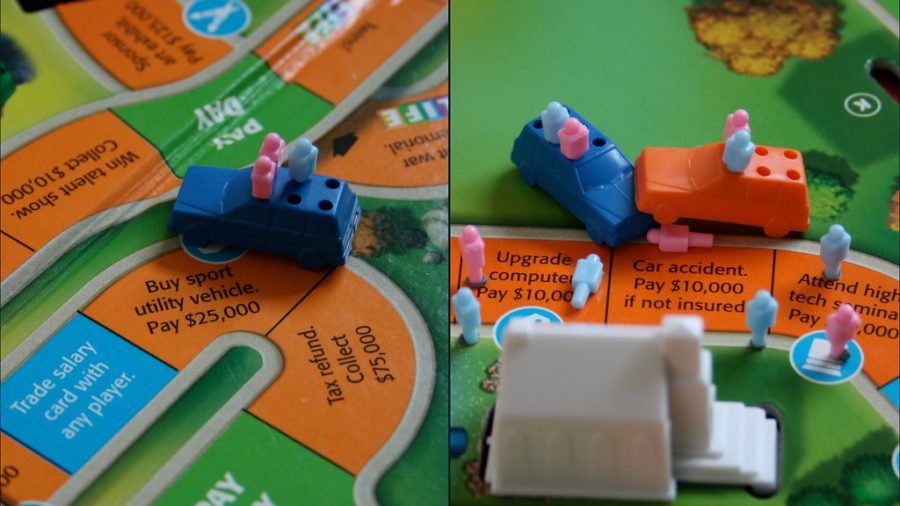 Two photos of The Game of Life, showing cars with peg people traveling the road.