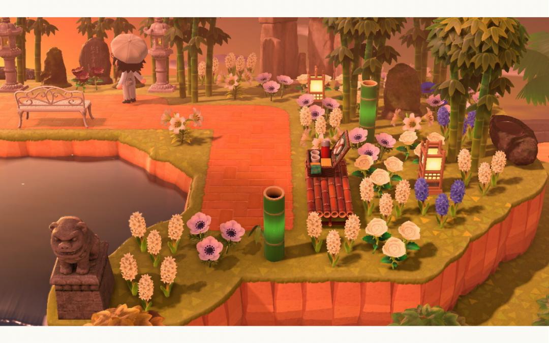 A Zen-styled garden in Animal Crossing.