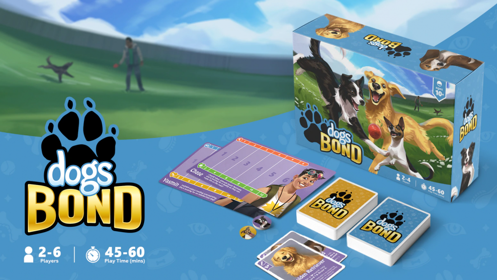 A spread of Dogs BOND's game parts, including its display box, cards, and information sheets.