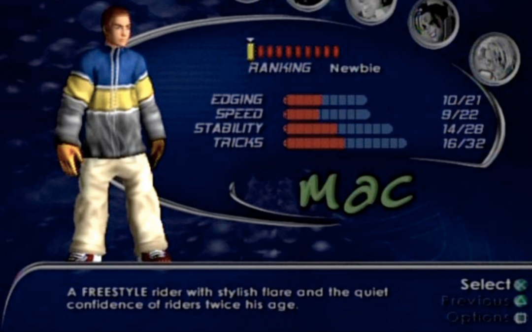 "An image of Mac from SSX, who wears a large hoodie with one horizontal stripe each of blue, yellow, and grey, and khaki pants. The screen gives Mac's stats and says, ""A FREESTYLE rider with stylish flare and the quiet confidence of riders twice his age."" SSX, EA Canada, EA Sports BIG, 2000."