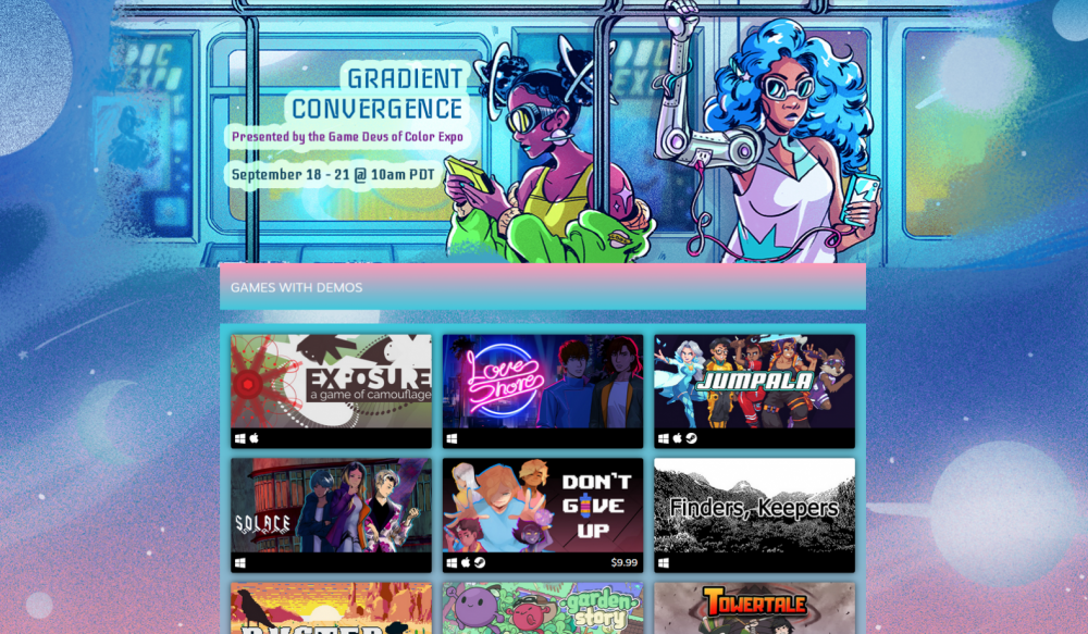 A screencap of the Gradient Convergence showcase as curated by the Game Devs of Color Expo, hosted on Steam.