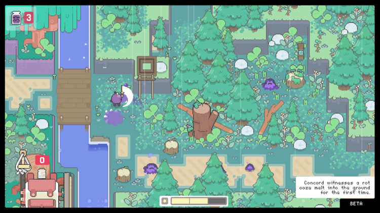 Screencap of Garden Story. A wide shot of a small section of a forest. Several purple-like slime creatures are scattered across the screen. A small grape, wielding a sword, is on the lefthand side of the screen fighting one of these creatures.