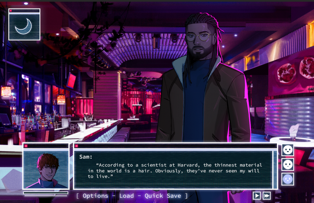 "A screencap of Love Shore. A Black man wearing glasses and sporting locs looks toward the viewer. He is standing in front of a bar lounge. A portrait of another masculine figure is framed on the bottom left. To the right, a dialogue box reads: ""Sam: 'According to a scientist at Harvard, the thinnest material in the world is a hair. Obviously, they've never seen my will to live."""