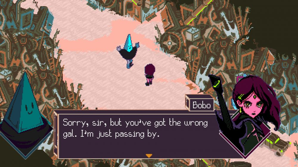 "Screencap of Keylocker. Two figures are standing in the middle of a clearing in a junkyard. One figure, with a pyramidal head, poses with arms stretched open to their sides. A young woman stands in front of them, sporting short dark hair. A text box reads, ""Sorry, sir, but you've got the wrong gal. I'm just passing by."""