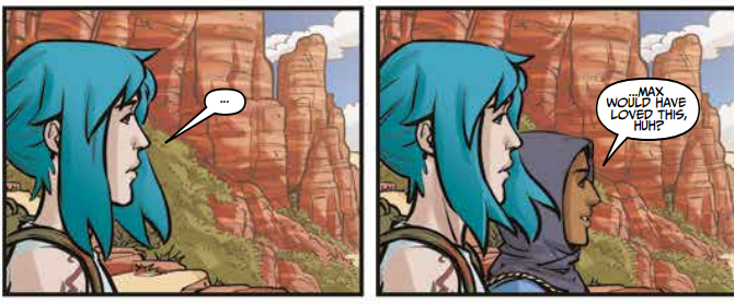 "Two comic panels. Panel One: Chloe stares off-panel silently. Panel 2: Pixie says ""Max would have loved this, huh?"" Life is Strange: Partners in Time #1, Emma Vieceli, Claudia Leonardi, Andrea Izzo, 2020."