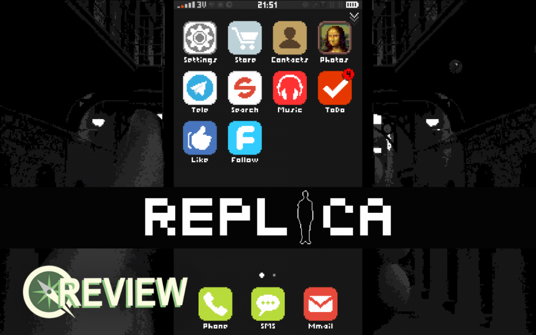 "A simulation of a smartphone display with various app icons. The game's title, ""REPLICA"", is displayed on a black band overlay. Sidequest's Review graphic sits in the lower left."