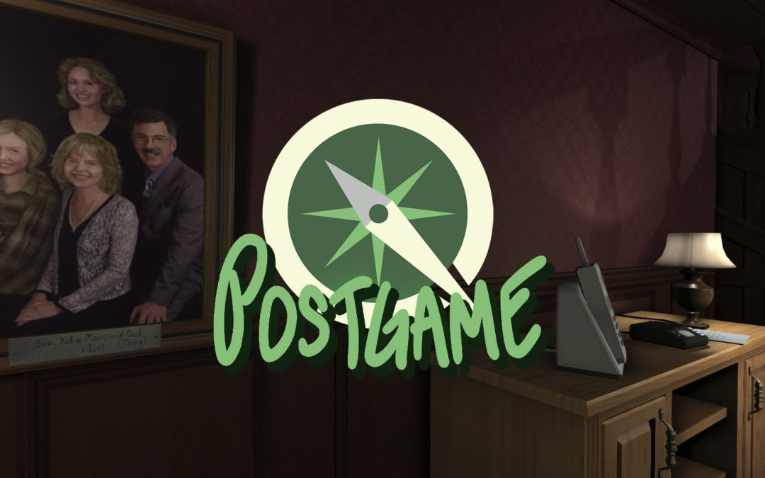 A screenshot of Gone Home showing the family portrait overlaid with the Postgame podcast logo.