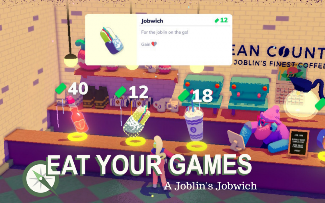 """A colorful counter from the game Going Under, where a humanoid figure stands in front of a floating sandwich, shake, and bottle. The sandwich description says, """"Jobwich: For the joblin on the go!"""""""