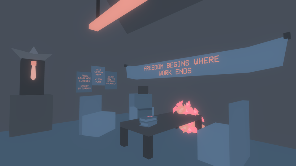 """Screenshot of A Bewitching Revolution. In a dimly lit, low-poly room, a table seems to be on fire. A banner reads """"FREEDOM BEGINS WHERE WORK ENDS."""" The image is peaceful. Image from https://colestia.itch.io/a-bewitching-revolution"""