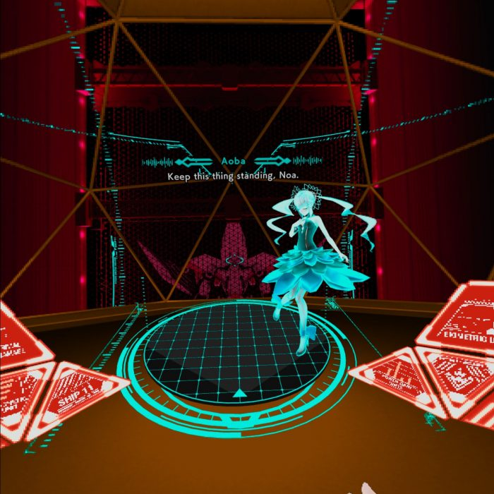A glimpse inside Chloe's Mahkia: includes a bunch of panels, a tiny virtual hologram of Noa, and the front window. The HUD is mostly rendered in red, with Noa appearing in bright cyan.