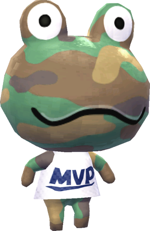 """Camofrog, wearing a white t-shirt with """"MVP"""" written across it. Animal Crossing: New Leaf, Nintendo, 2012."""