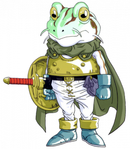 Character art of Frog from Chrono Trigger. He's a stout frog with whiskers, a greenish cape, brass armor, white pants, and a sword and shield on one arm. Chrono Trigger, Square Enix, 1995.