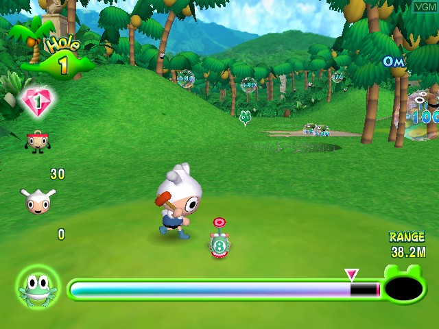 Scooter prepares to hit his frog (a little green friend with the number 8 on its back) through a jungle with a red mallet. Ribbit King, Jamsworks, Bandai Namco, 2003.