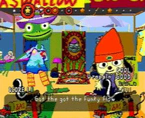 PaRappa rap battles Prince Fleaswallow. PaRappa the Rapper, Japan Studio, Sony, 1996.