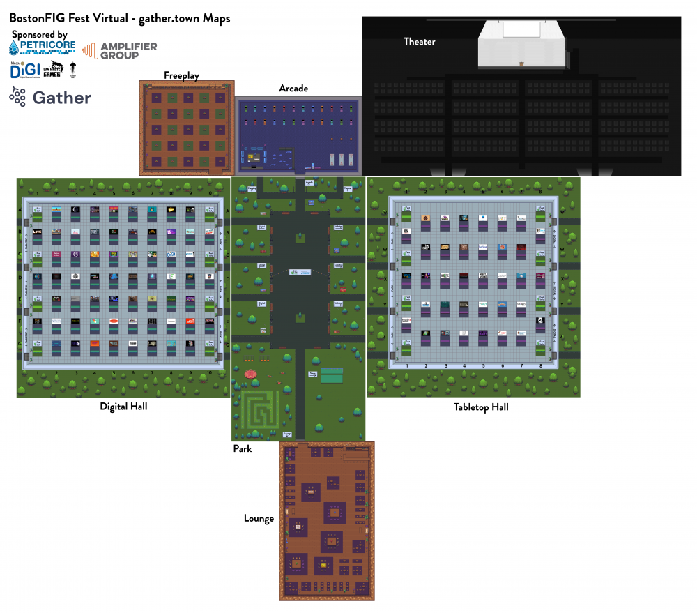 Breakdown of the floor map for BostonFIG Virtual hosted on Gather.