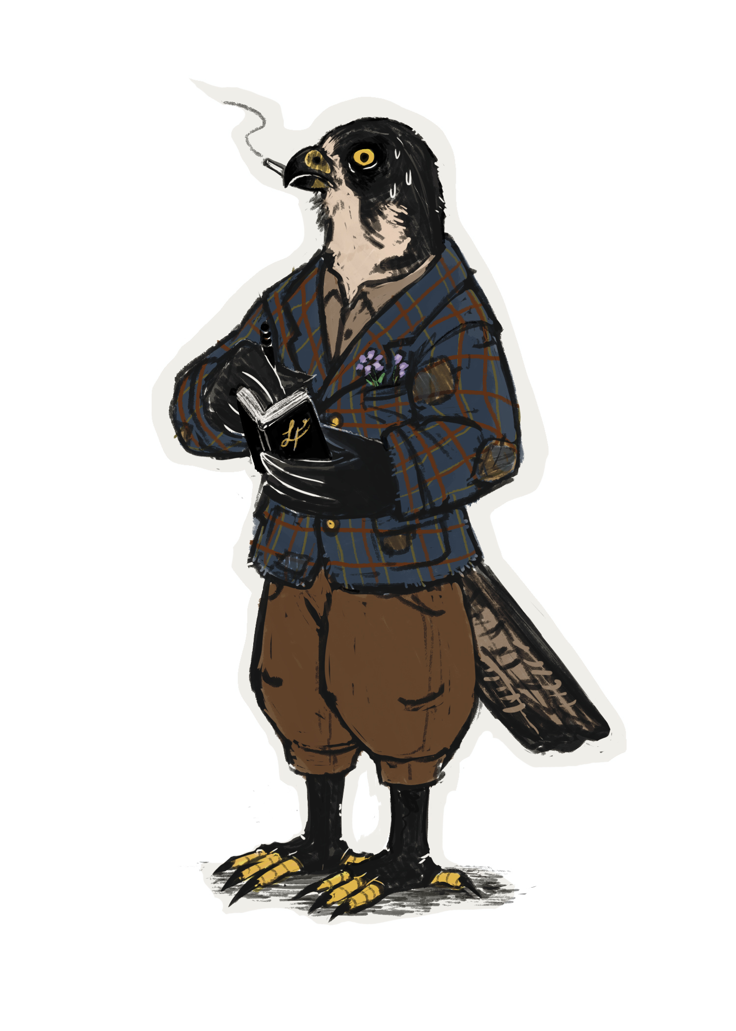 An illustration of Laurus Francoeur, a nervous-looking peregrine falcon in a plaid coat and brown pants. He is smoking a cigarette.