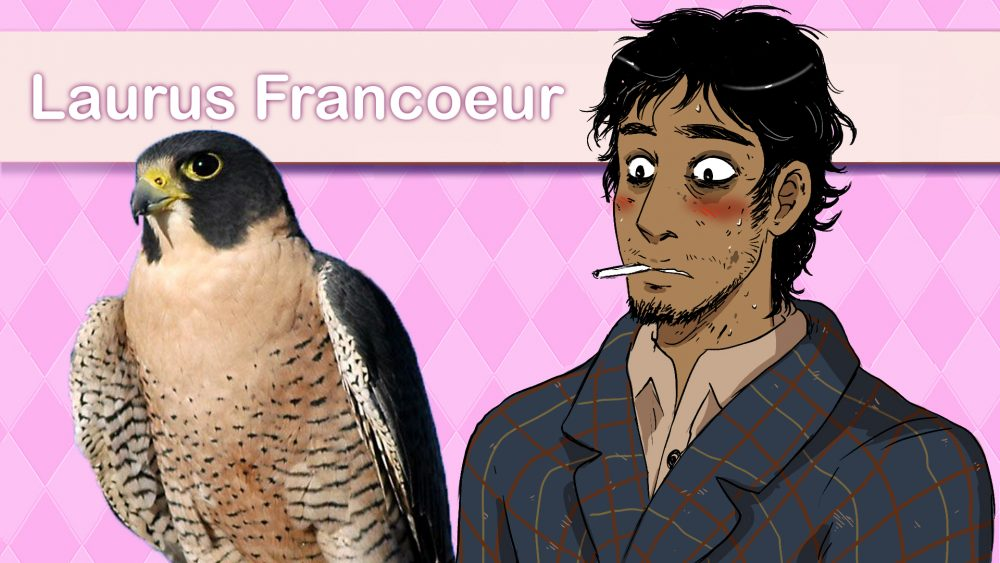 An edited image in the style of Hatoful Boyfriend, showing Laurus Francoeur, a nervous-looking human man with a cigarette in his mouth next to a photo of a peregrine falcon.