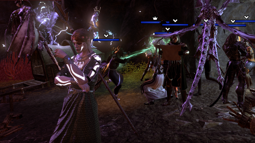 A screencap of the author's OC, an orc sorceress, in a crowd of other players and their pets, waiting to start a trial. Elder Scrolls Online, Zenimax Online Studios, Bethesda Softworks, 2014.