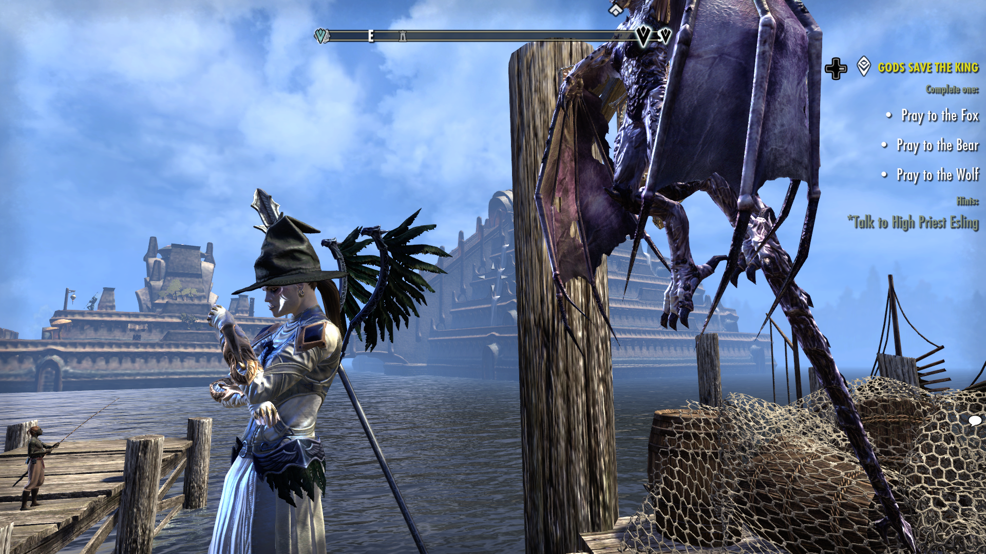 The author's OC stands on a dock, contemplating her winged armor. She is accompanied by a harpy-like winged companion. Elder Scrolls Online, Zenimax Online Studios, Bethesda Softworks, 2014.