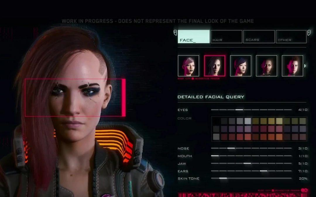 A screenshot of a character in the Cyberpunk 2077 character creator.