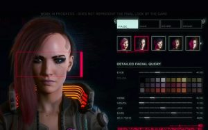 A screenshot of a character in the Cyberpunk 2077 character creator.