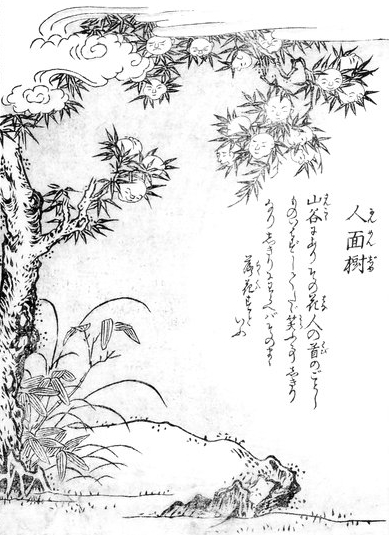 18th century Japanese sketch of Jinmenju, a tree blossoming with smiling heads instead of flowers.