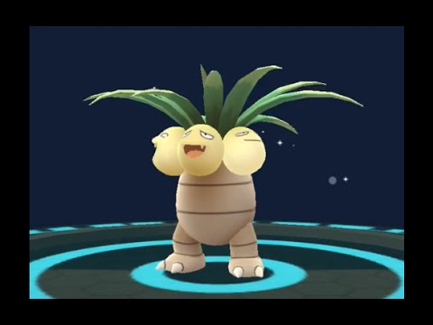 """A screenshot of Exeggutor, a Grass/Psychic Pokémon in the form of a tree sprouting egg-like heads, in Pokemon Go. Image courtesy of <a href=""""https://www.toylabs.us/2016/08/pokemon-go-how-do-you-beat-exeggutor.html"""">toylabs.us</a>. Pokemon Go, Niantic, Nintendo, 2016."""