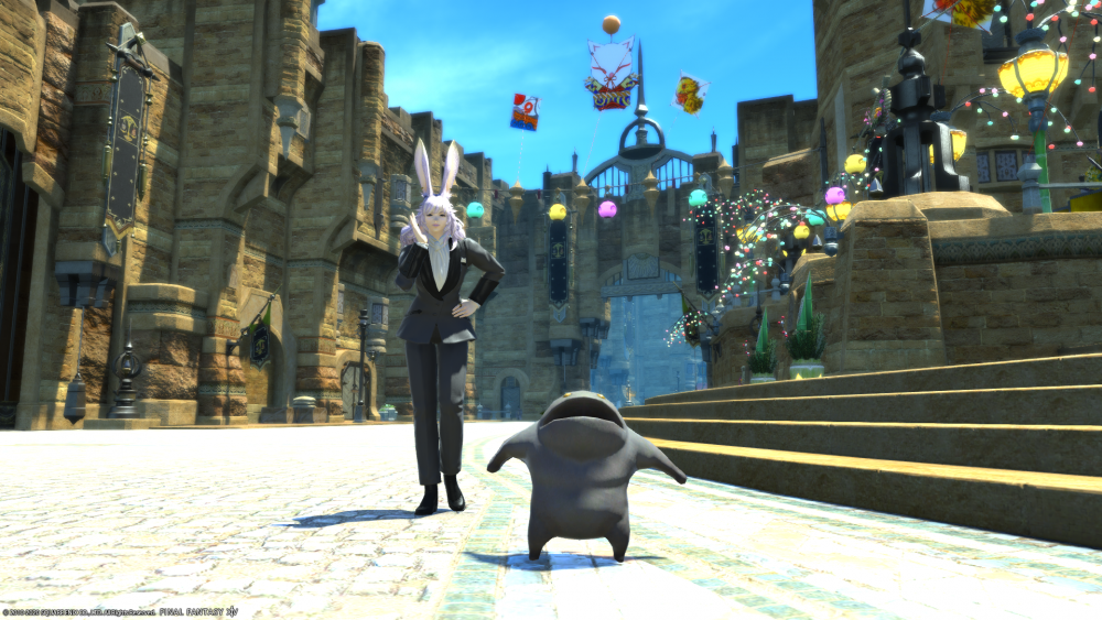 A screenshot from Final Fantasy XIV in which the player character, a rabbit person with white fur, is wearing a suit, posed with a small companion minion.