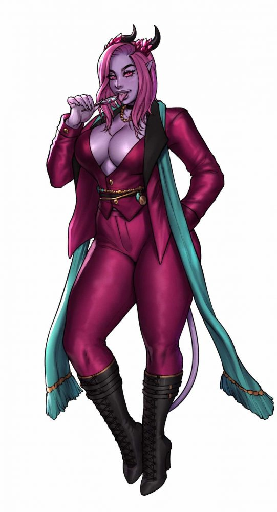 An illustration of Intari, a purple-skinned tiefling, in a maroon suit. She is sucking a lollipop.