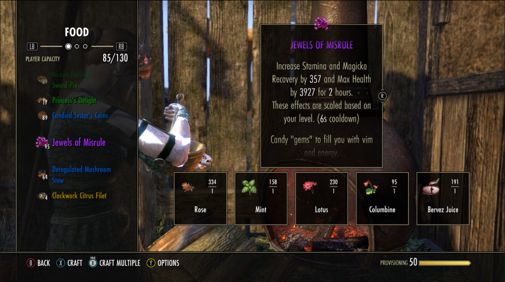 Screenshot of Jewels of Misrule recipe card. Ingredients are detailed in the rest of the post!