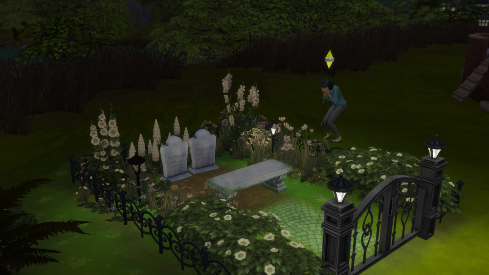 A screenshot showing a sim mourning the graves of two other sims.