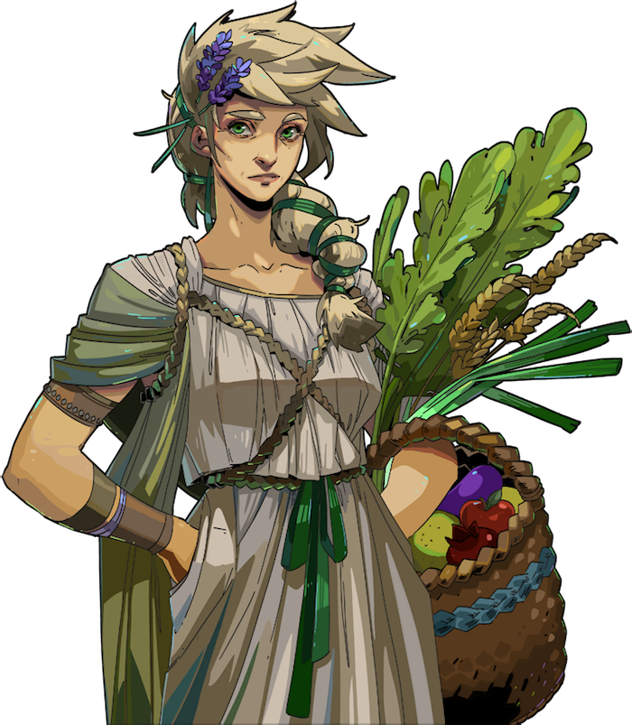 Persephone, a white woman with swooping light blond hair, holds a basket of fruit and bushels of greenery. She's wearing a pleated off-white dress reminiscent of a knit sweater, with a light olive green shawl draped over her shoulders. she has purple flowers in her hair, and a green ribbon around a sort of braid/ponytail draped over her shoulder. (Hades)