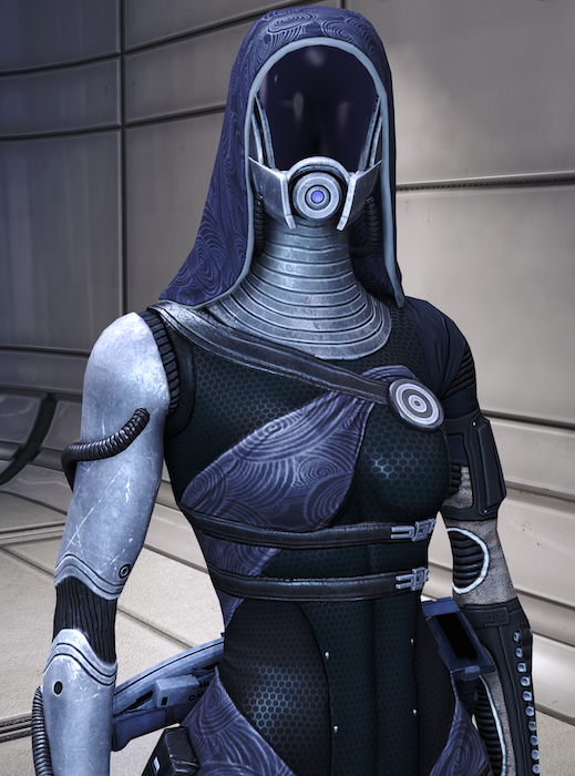 Tali is a slim figure with a narrow waist, clad head to toe in an airtight body suit. She wears a headscarf over her helmet, the faceplate of which is blacked out so the player can't see her face. Her sleeves and neck covering are metallic silver; her torso is black leather or spandex or whatever space suits are made of. Cloth of the same light purple color of her head scarf is tied across her chest, anchored to a pin or insignia. (Mass Effect)