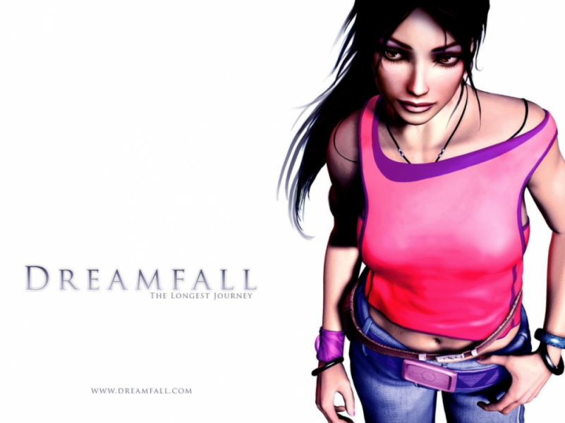 A high-angled view of Zoë Castillo, a white woman with straightened black hair and dark makeup, wears a pink, asymmetrical half-off-the-shoulder tank top over low cut blue jeans and a chunky purple belt.