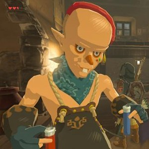 Sayge, a character with sunken, dark-lined eyes, an overbite, a red nose, and a red sort of combover situation, sports a leather apron over no shirt whatsoever. He's also wearing heavy leather fingerless gloves and holding vials with red and blue liquid in them.