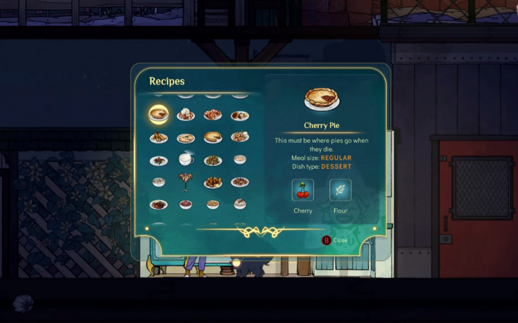 An image of recipes available for Stella to cook, with Cherry Pie highlighted. Screenshot from IGN's Spiritfarer recipe walkthrough. Spiritfarer, Thunder Lotus Games, 2020.