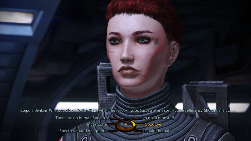 The author's character is a woman with short red hair. She is presented with a dialogue tree with various degrees of morality in its options. Mass Effect Legendary Edition; BioWare; Electronic Arts; 2021