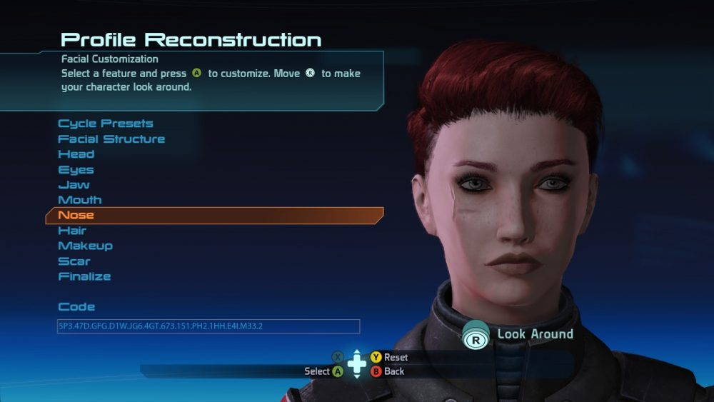 A screenshot of the character creation screen for Mass Effect. The author's character is a woman with short red hair. Mass Effect Legendary Edition; BioWare; Electronic Arts; 2021