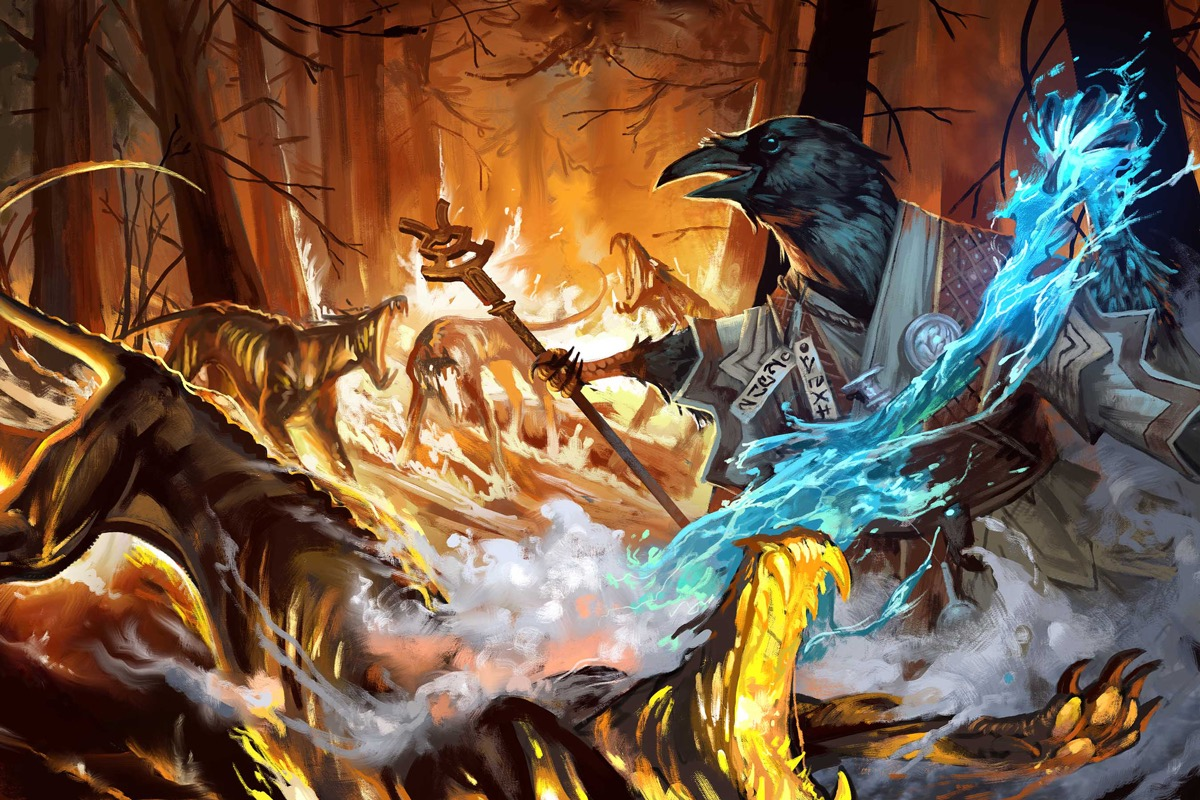 A black crowlike tengu fighting fiery hellhounds with blue magic from the Advanced Player's Guide