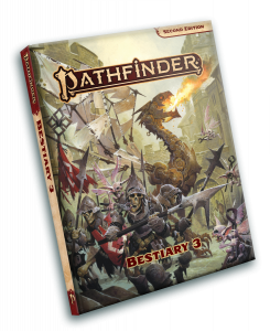 A clockwork dragon supports a skeletal troop fight an army of tooth fairies on the cover to Bestiary 3.