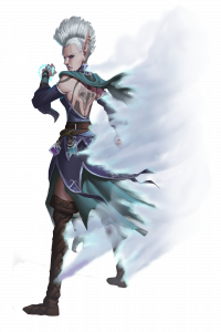 Secrets of Magic Transmuter, an ice themed elf with a white mohawk and a back tattoo, surrounded by swirling mist