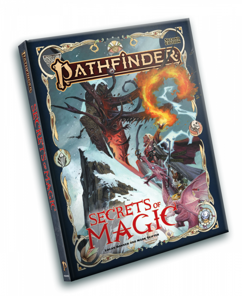 Secrets of Magic Cover - Paizo - September 2021 - Wayne Reynolds - Depects the magus Seltiyel and the summoner Ija and her eidolon a pink dragon fighting an eldritch horror coming out of a gate on a cliff face