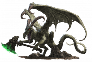 Treerazer, a demon with curled horns, bat like wings, and a gaping maw hunches while holding an axe dripping with green venom