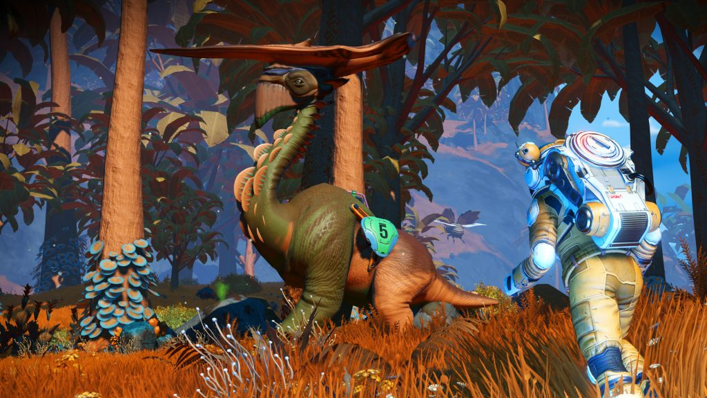 A long-necked-ish dinosaur with a piece wood, maybe, balanced on its head, looks off to the left, while a person in a spacesuit comes towards it.